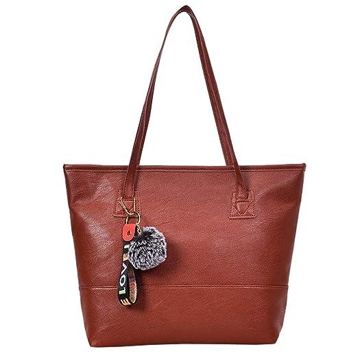 bc9b426aa1 Amazon.com  Vintgae Hand Bag Hurrybuy Women Hairball Zipper Tote Leather  Shoulder Bag  Clothing
