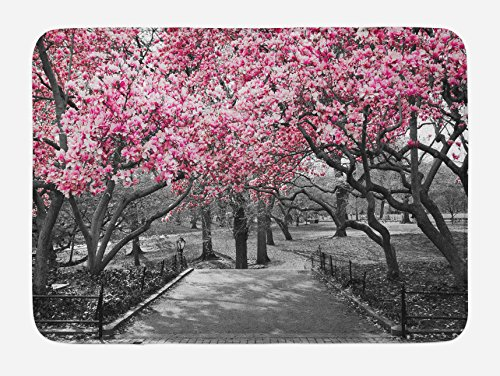 Lunarable NYC Bath Mat, Blossoms in Central Park Landscape with Cherry Trees Forest in Spring Season Picture, Plush Bathroom Decor Mat with Non Slip Backing, 29.5 W X 17.5 L Inches, Magenta Grey