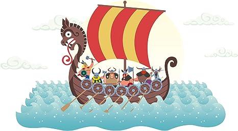 Pegatina de pared cuarto de los niñosBarco vikingo de colores adhesivo barco a pegar pared barco adhesivo mar adhesivo océano marítimo: Amazon.es: Bebé