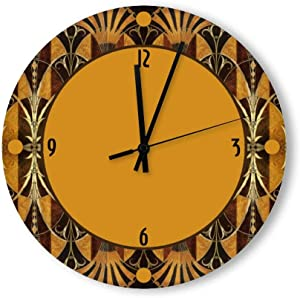 Round Wood Wall Clock Home Decor, Art Decor Wood Clock Wood Wall Clock, Battery Operated, no Ticking Sound for Home The Kitchen Living Room Bedroom Restaurant or Office