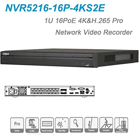 Dahua NVR NVR5216-16P-4KS2E 16 Channel 1U 16PoE 4K&H 265 Pro Network Video  Recorder