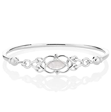 DTPSilver - 925 Sterling Silver and Moonstone - Celtic Knot Bangle Bracelet IDSOW