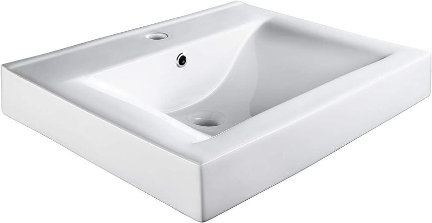 TecTake 800444 Lavabo à poser en céramique vasque rectangulaire salle de  bain d\'Angle - diverses modèles (Type 3 Lavabo rectangul.   no. 402571)