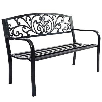 Banc de jardin en métal noir Magnifique banc de parc élégant ...