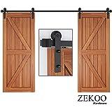 ZEKOO 5 FT Traditional Sliding Barn Door Hardware Flat Track Antique Style Use for Double Doors