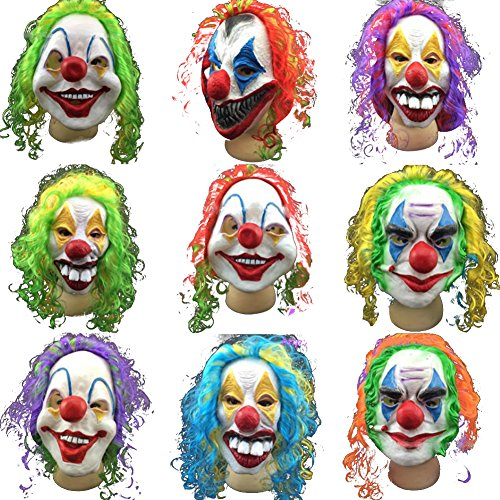 Sunko Halloween Scary Clown Mask Joker Men's Full Face Mask For Halloween Party (Clown Faces Scary)