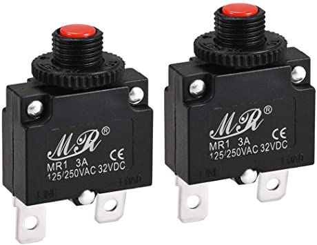 E-outstanding Thermal Overload Protector 125//250V AC 32V DC 10A Mini Size Push Button Thermal Circuit Breaker
