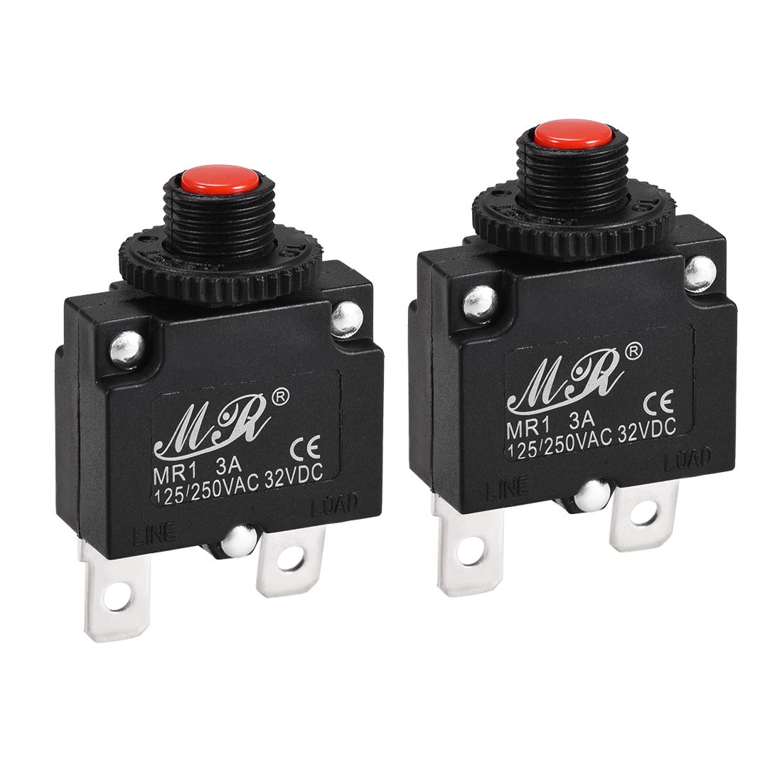 uxcell Thermal Circuit Breakers 7A 125//250V AC 32V DC Push Button Manual Reset Overload Protector Switch 2 Pcs