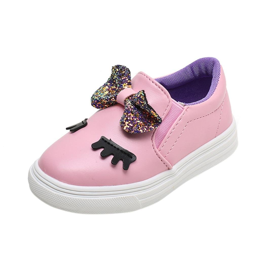 wuayi Children Fashion Baby Girls Casual Shoes Bowknot Shy Eyes Sneaker