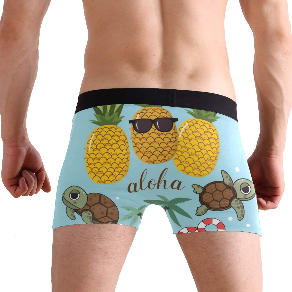 SUABO Mens 2-Pack Boxer Briefs Polyester Underwear Trunk Underwear with Pineapple with Tortoise Design
