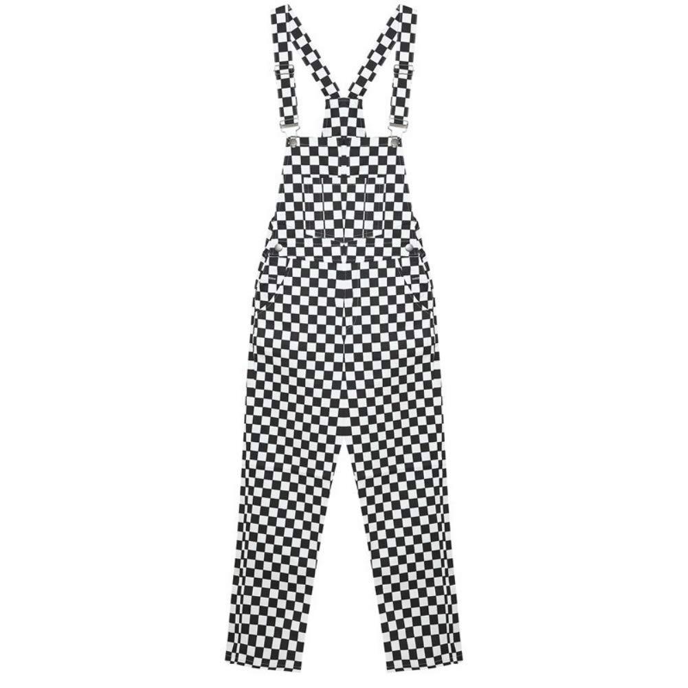 KINHOO Jumpsuit Slim Casual Black and White Checkerboard Lattice Loose Overalls