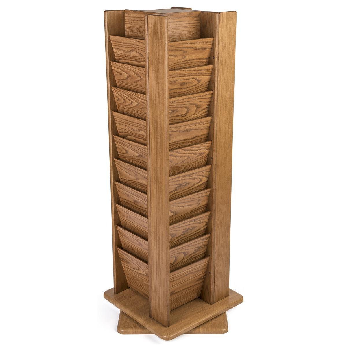 Wooden Mallet MR40-SPMO Cascade Spinning Floor Display with 40 Magazine Pockets, Medium Oak