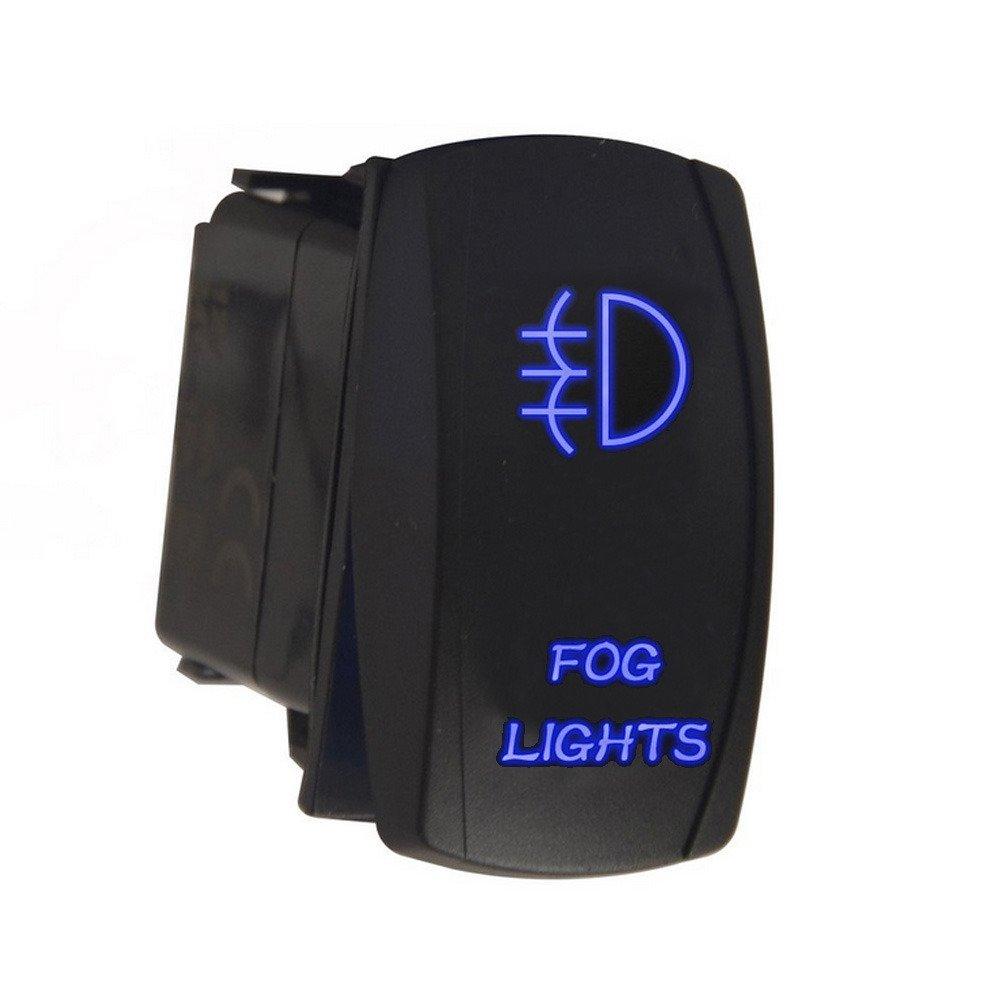 HOUTBY Car 12V 20A 24V 10A Blue LED Lase Light Rocker Toggle Switch 5Pin Driving Light