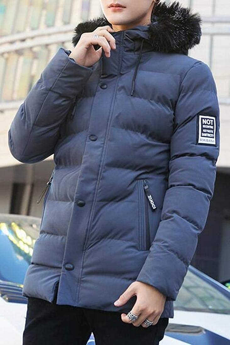 Bravepe Men Warm Mid Length Winter Faux Fur Hooded Thicken Quilted Jacket Coat Outerwear
