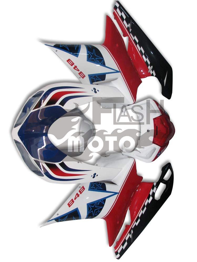 FlashMoto ducati デュカティ 1098 848 2007 2008 2009 2010 2011 2012 1198用フェアリング 塗装済 オートバイ用射出成型ABS樹脂ボディワークのフェアリングキットセット レッド, ホワイト   B07L81TYJ5