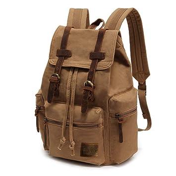 8258d5330b737 Retro Segeltuch Rucksack Canvas Vintage Rucksack Echtleder Laptop Daypack  Schulrucksack Reisetasche Lederrucksack Wasserdicht Dauerhaft  Schulterpackung für