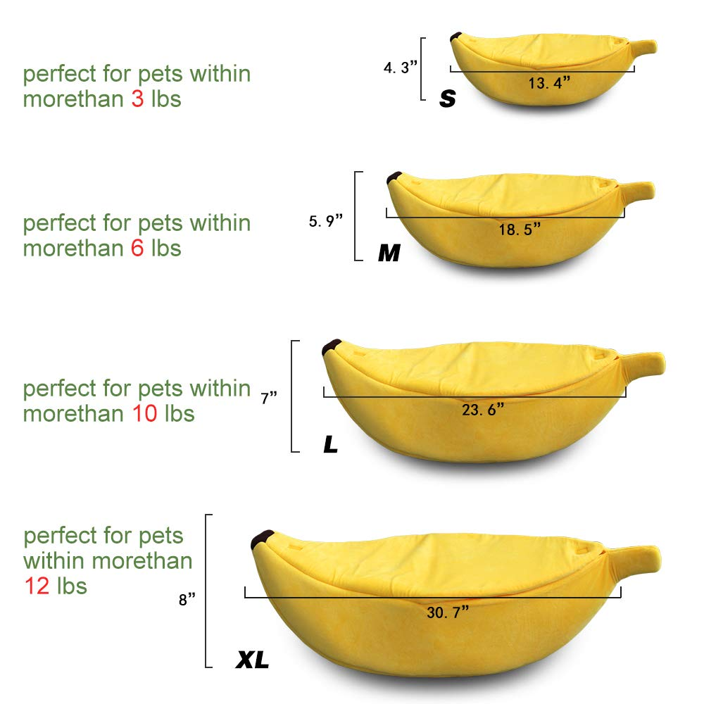 · Petgrow · Banana Cat Bed Cave Extra Large Size, Pet Bed Sofa Soft Cat Cuddle Bed House, Lovely Pet Supplies for Rabbits Small Dogs Cats Kittens Bed, Yellow by · Petgrow ·
