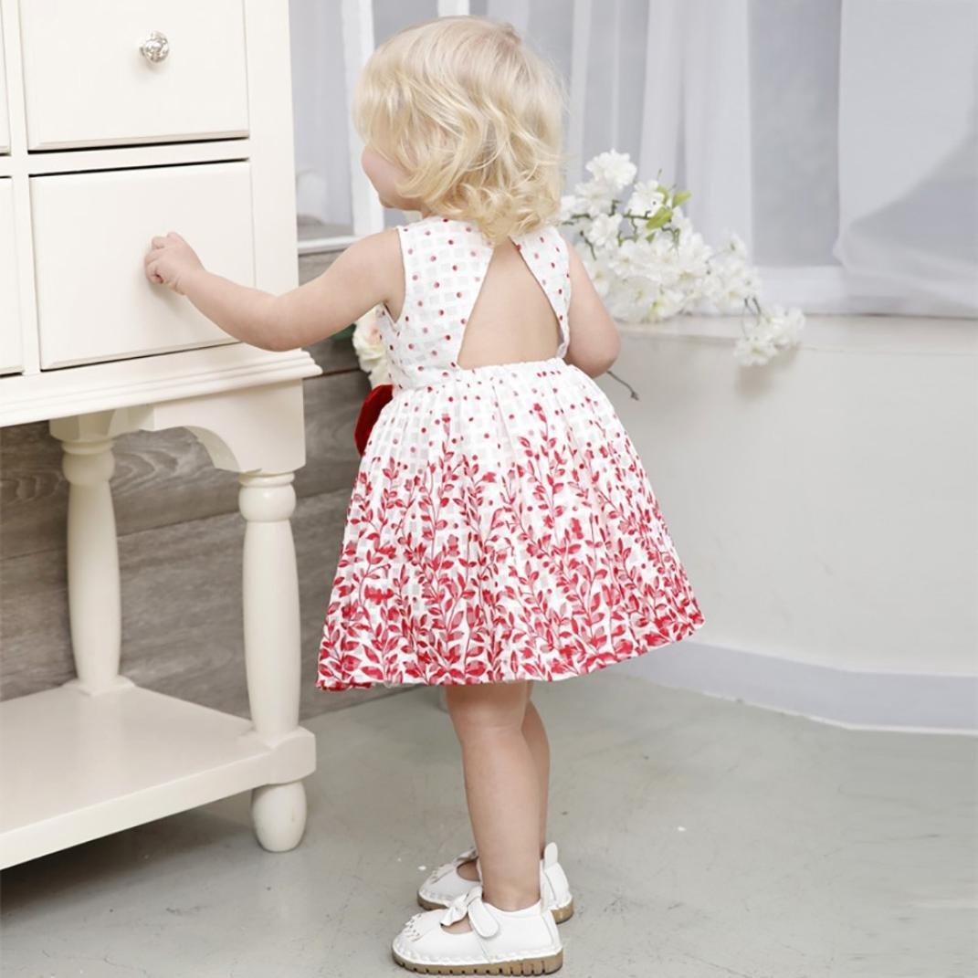 WARMSHOP Backless Princess Dress Up Skirt Sleeveless Dot Floral Print O-Neck Bowknot Girls Dress