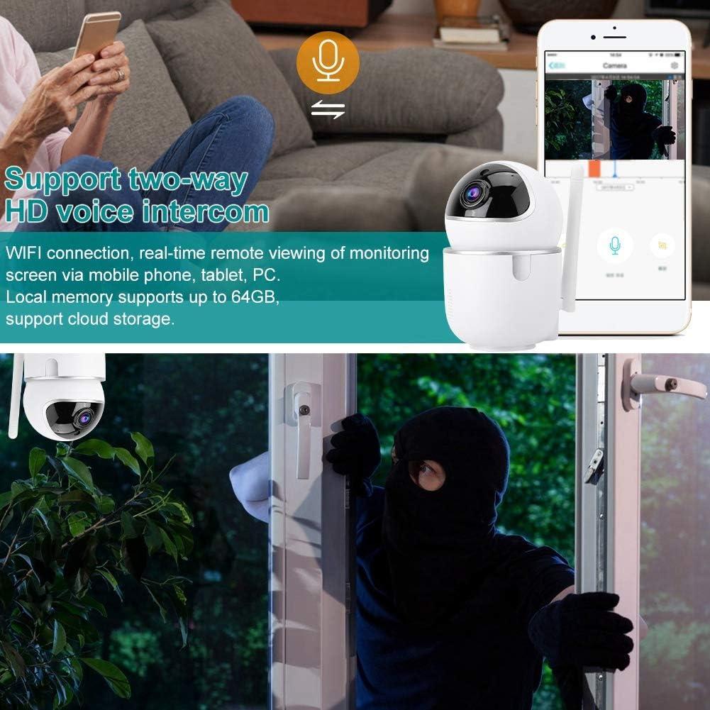 Neufday PTZ Safety Camera,Wireless Mini PTZ 1080P HD WiFi Security IP IR Camera Safety Monitor Memory Card White(US)