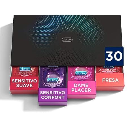Durex Preservativos Love Collection Sabor Fresa, Dame Placer, Sensitivo Suave y Sensitivo Comfort- 30 unidades
