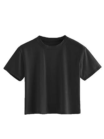 8f3f2615c11 SweatyRocks Women s Short Sleeve Crew Neck Solid Basic Crop T-Shirt 1-Black  XS