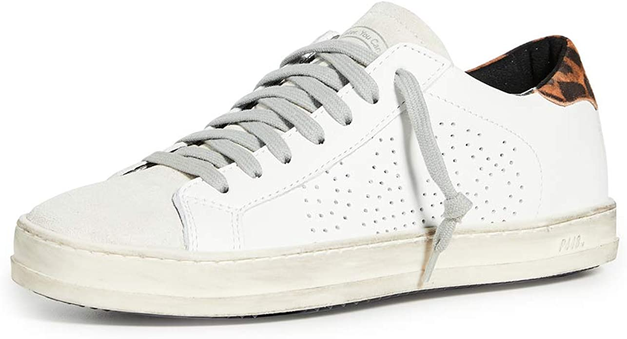 P448 John White/Leopard Leather Low-Top