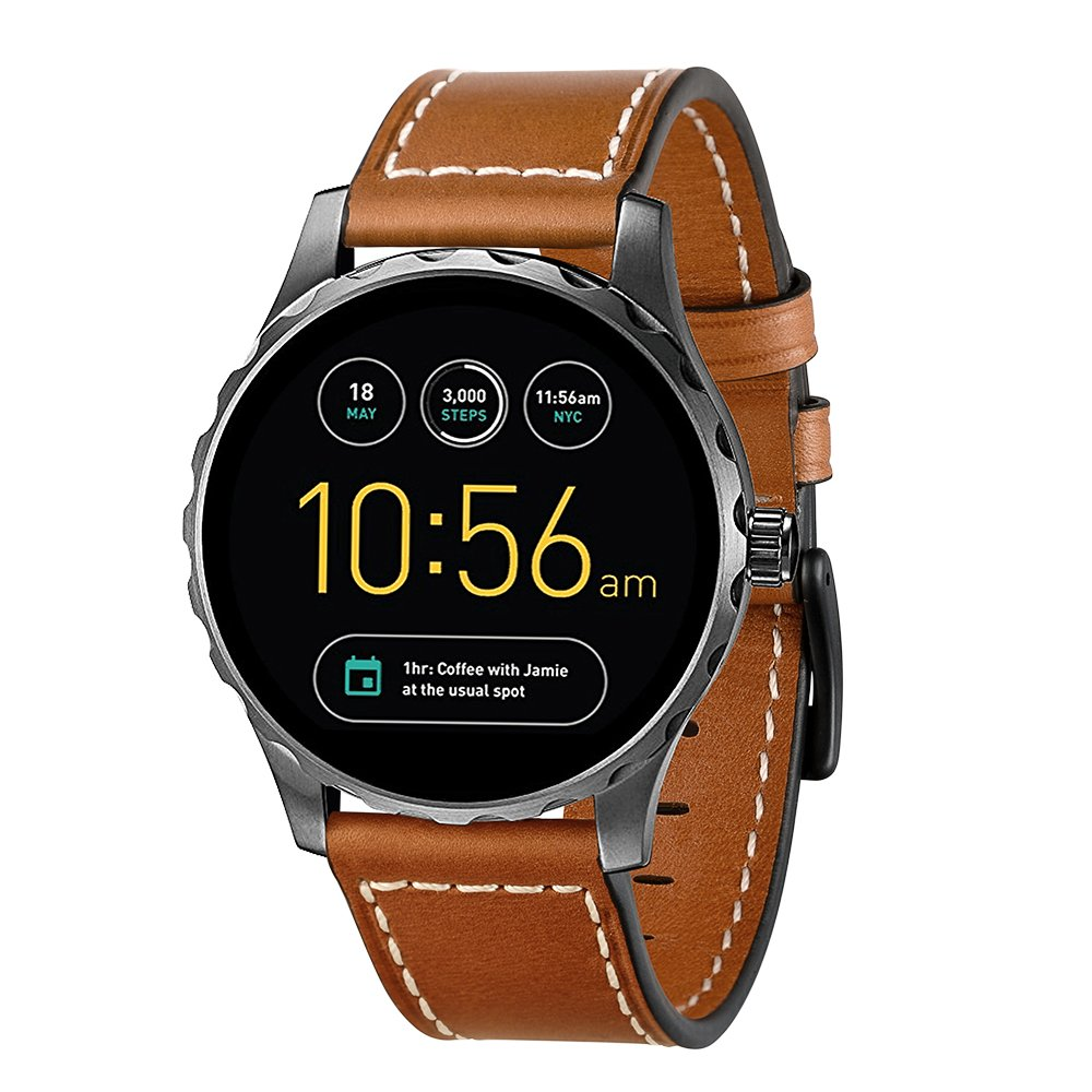 Kartice for Fossil Q Marshal Gen 2 Band, 22MM Fossil Q Explorist Gen 3 Bands Leather Band with Stainless Steel Buckle for Fossil Q Marshal Gen 2&Gen 3 Q Explorist Smart Watch(brown 22mm) by Kartice