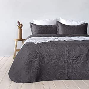 Bambury Paisley Embossed Coverlet Set (or) Bedspread, King/Queen, Charcoal