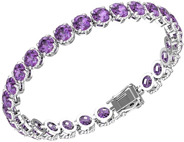 Natural Gemstone Bracelet Natural Amethyst Bracelet 925 Sterling Silver Bracelet Tennis Bracelet  Gemstone Silver Jewelry Gift For Girl