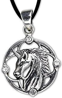DarkDragon Anhänger Einhorn Keltischer 925er Silber Schmuck Zirkonia mit Lederhalsband Schmucksäckchen und Karte Einhornanhänger 5650