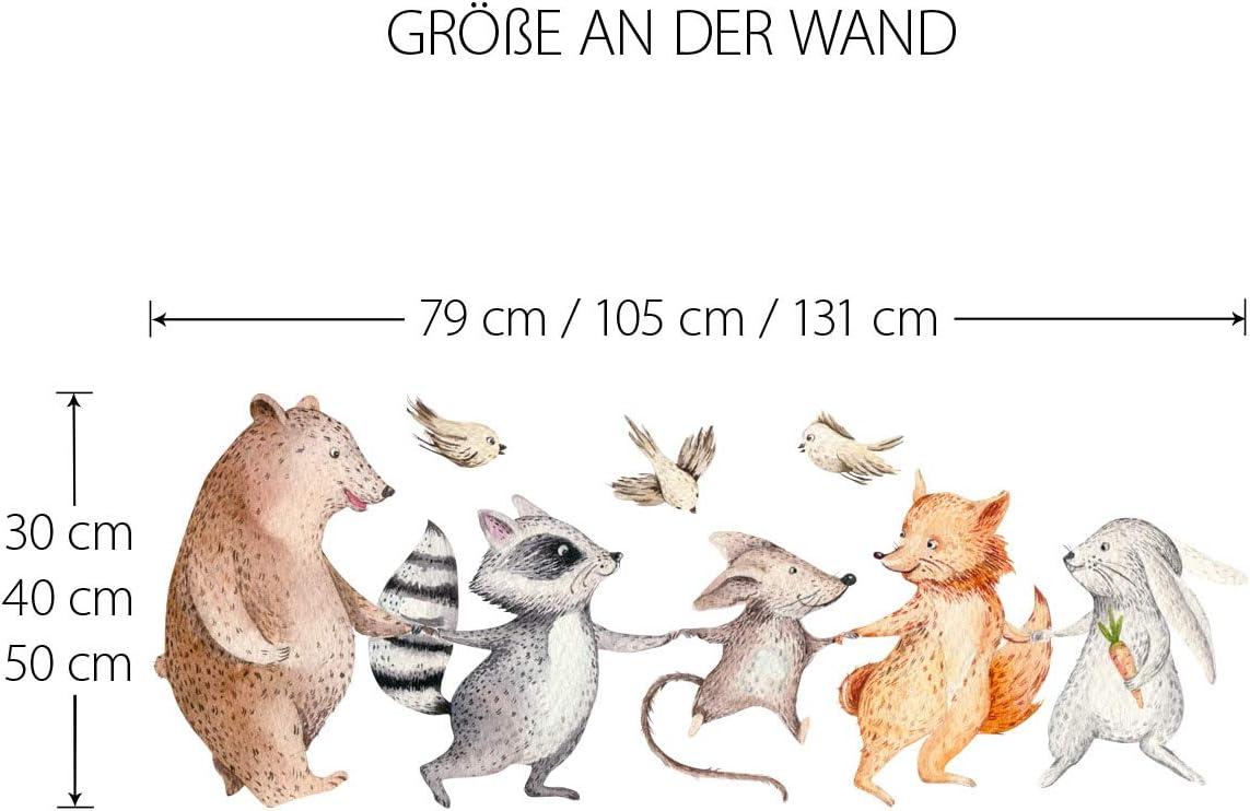 Little Deco Pared Tatuaje Bosque Animales de la Mano I (WxH) 79 x ...
