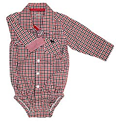 Red/Black Boys Check Tailored Bodysuit - 9 Months, Frenchie Mini Couture