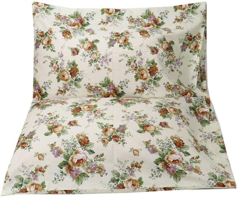 YIH Pink Queen Size Floral Cotton Pillowcase for Girl Envelope Closure End 20 x 30 Inches Ultra Soft Hypoallergenic
