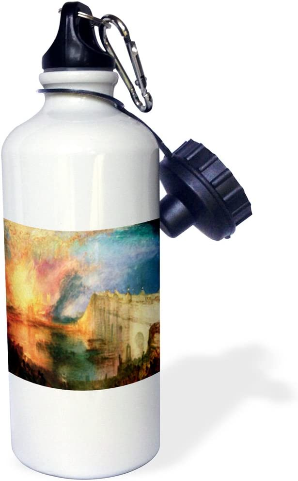 White 21 oz 3dRose wb/_100926/_1 Picture of Painting Burning of Lord N House of Commons By Wiliam Turner Sports Water Bottle