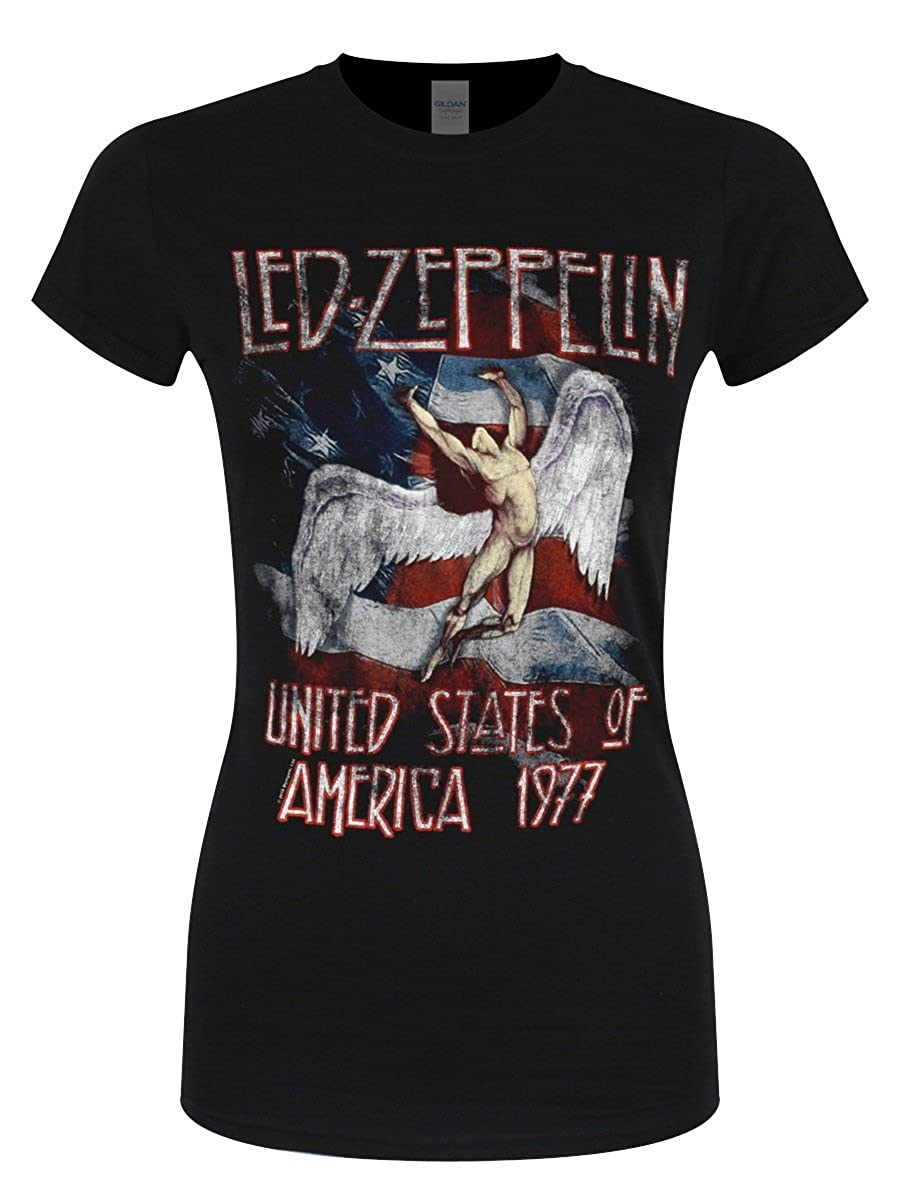 TALLA M. Led Zeppelin Stars'n Stripes USA 77 Camiseta Negro