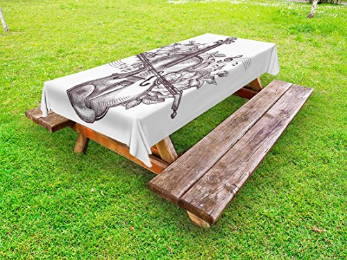 Lunarable Violin Outdoor Tablecloth, Vintage Fiddle Instrument and Blossoms Rhythm Orchestra Melody Hand Drawn Art, Decorative Washable Picnic Table Cloth, 58 X 120 Inches, Dark Brown (Fiddle Dinner)