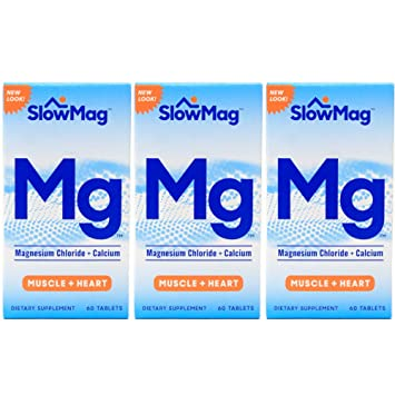 Slow-Mag Dietary Supplement with Calcium, 60 Tablets Per Bottle (3 Bottles)