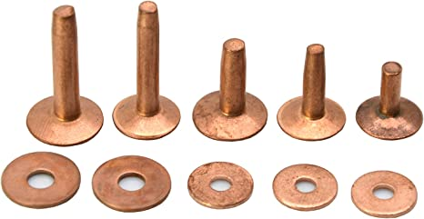 Copper, #12-10pk - 1//2 Copper and Solid Brass Rivets and Burrs