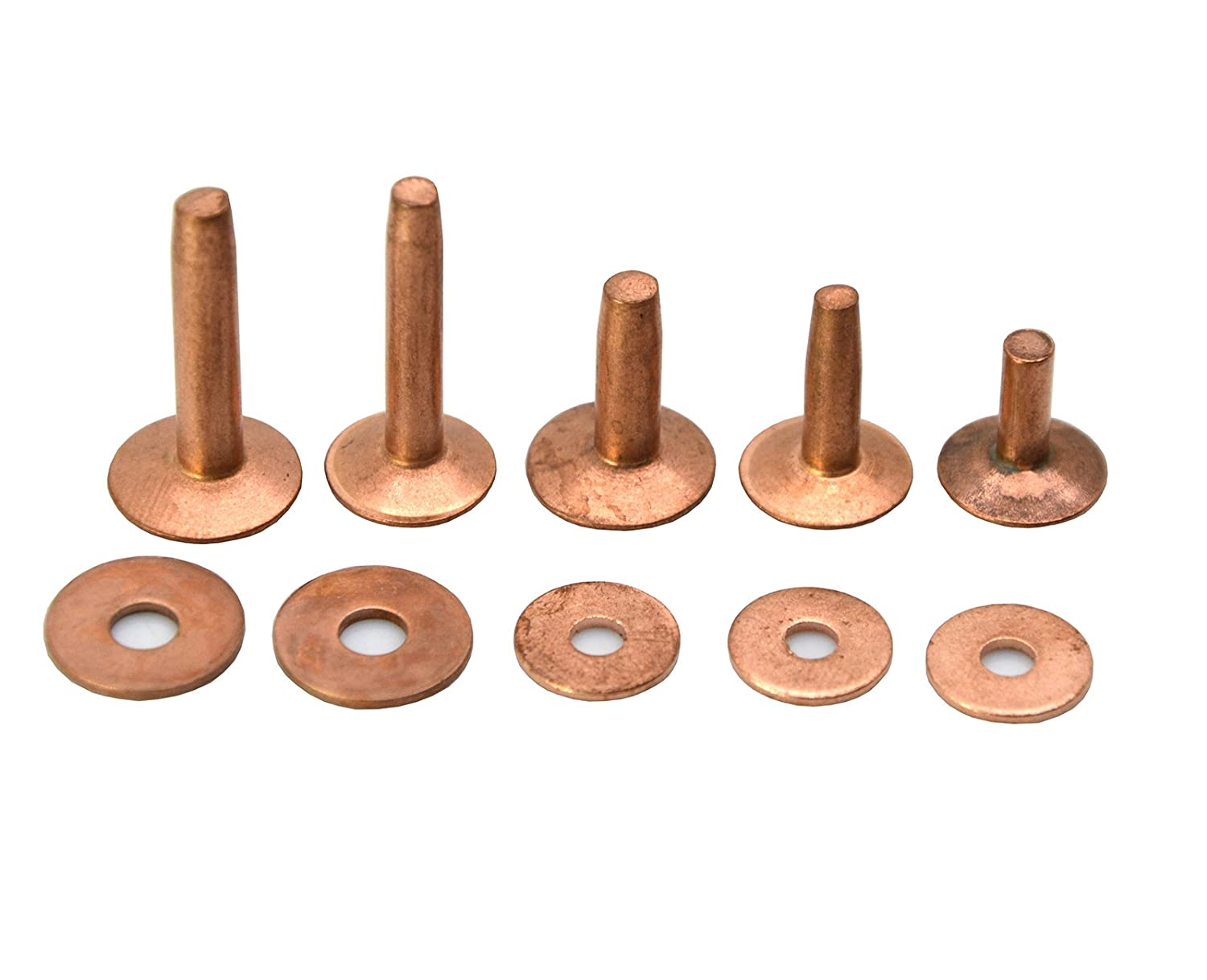 Okones Pack of 40,3/8''cap×1/8''shaft×1/2''tall,Solid Copper Rivets and Burrs Studs Spike for Leather Craft Belt Wallet (3/8''cap×1/8''shaft×1/2''tall, yellow copper)