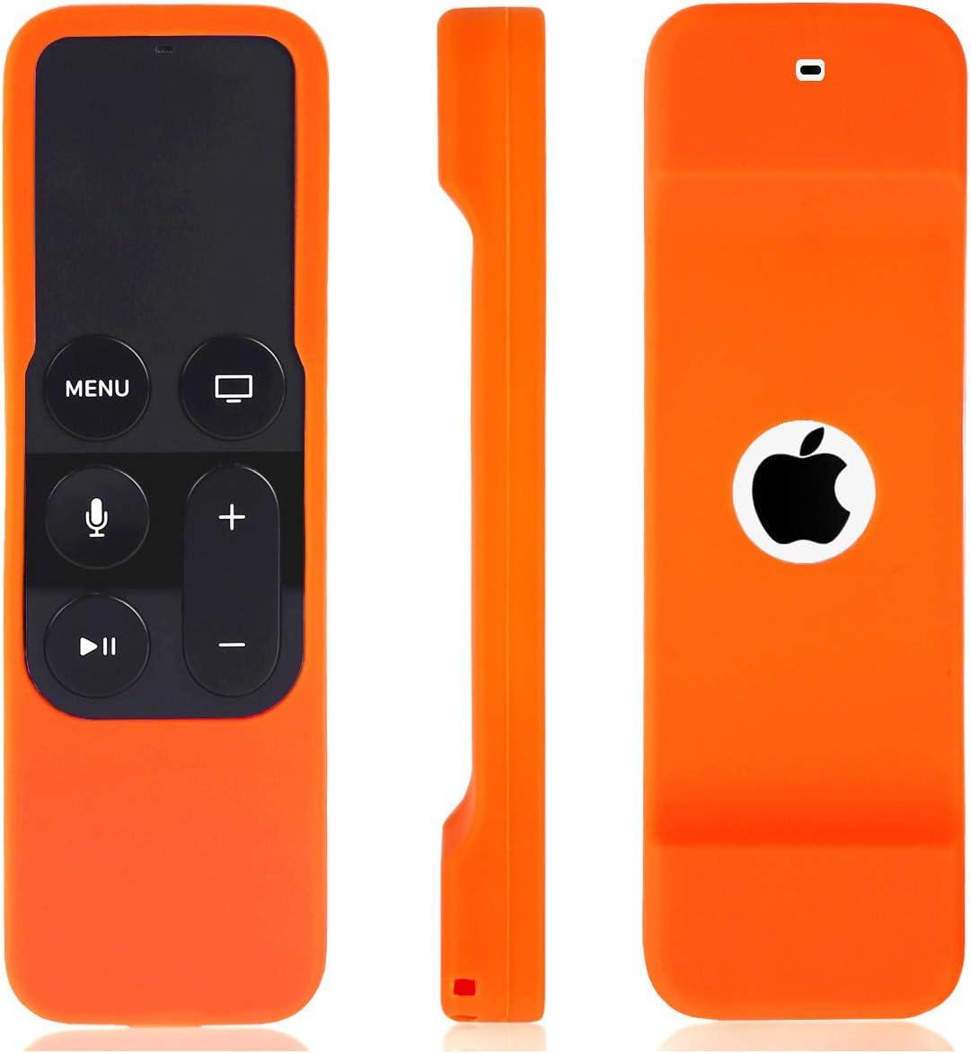 Remote Case for Apple TV 4K / 4th Gen Remote Controller, Anti Slip Shock Proof Silicone Remote Cover Case for Apple TV 4K / 4th Gen Siri Remote(Orange)