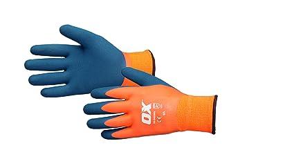OX Thermal Latex Work Gloves – Waterproof Safety Gloves – Freezer Gloves –  Gardening Gloves – Orange/Blue, Size – 9/Large