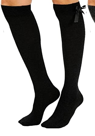 fa7f97c0acb High Quality Girls Children School Value Pack 4 (FOUR) Pairs Of Plain Grey  Navy Blue Black White Knee High Socks With Bow. 10% off with TWO more  purchase  ...