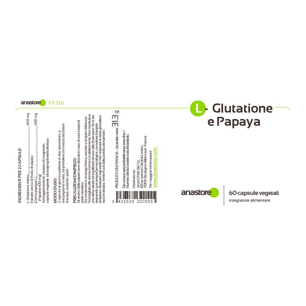 Anastore L - Glutatión y Papaína 400 mg - 60 Cápsulas: Amazon.es: Salud y cuidado personal