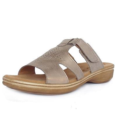 967a56888ec7 Gabor Hamburg Modern Flat Mules Sandals in Light Gold 8 LIGHT GOLD ...