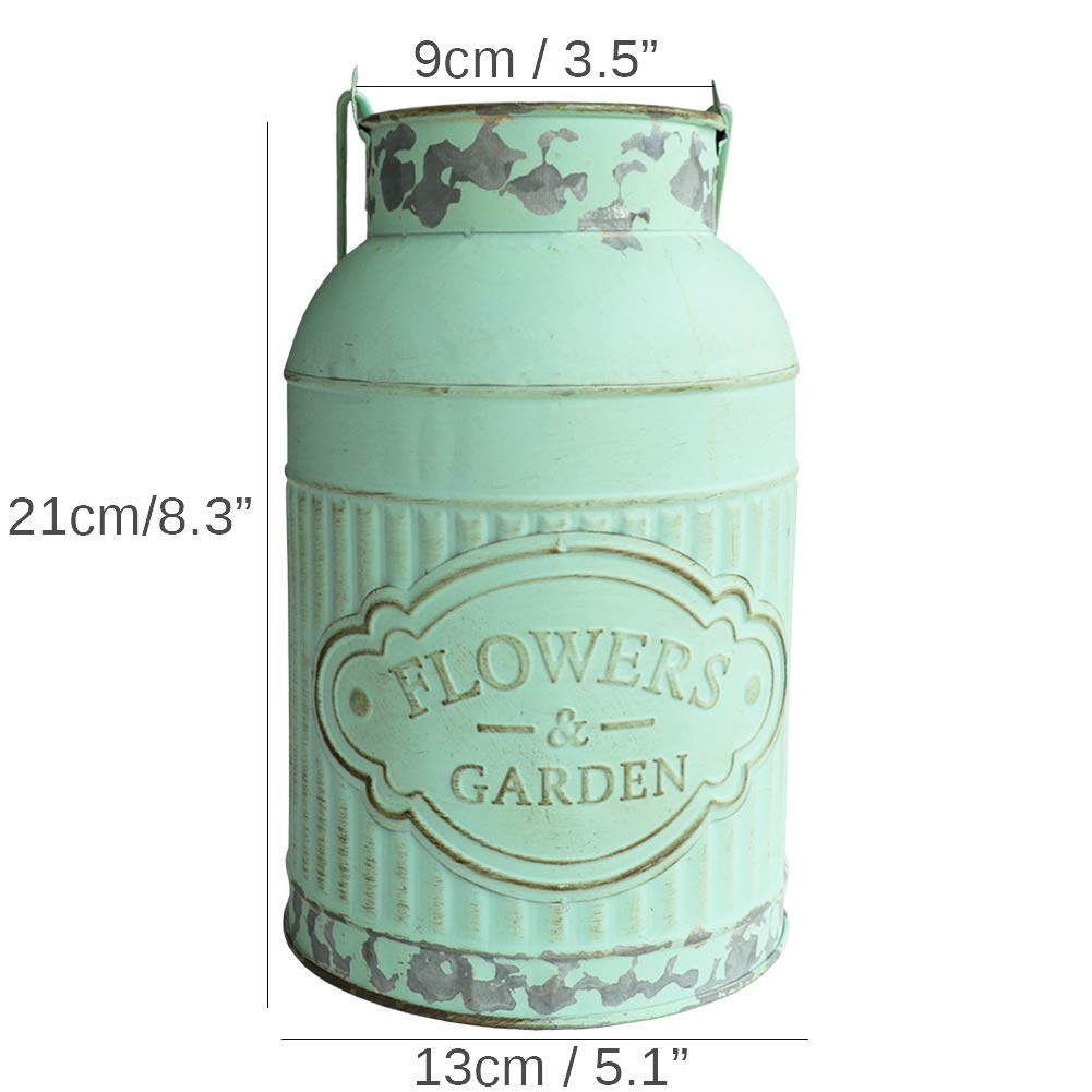 HyFanStr Shabby Chic Green Painted Milk Can Style Metal Vase Flower Pitcher Jug Pot by HyFanStr (Image #6)