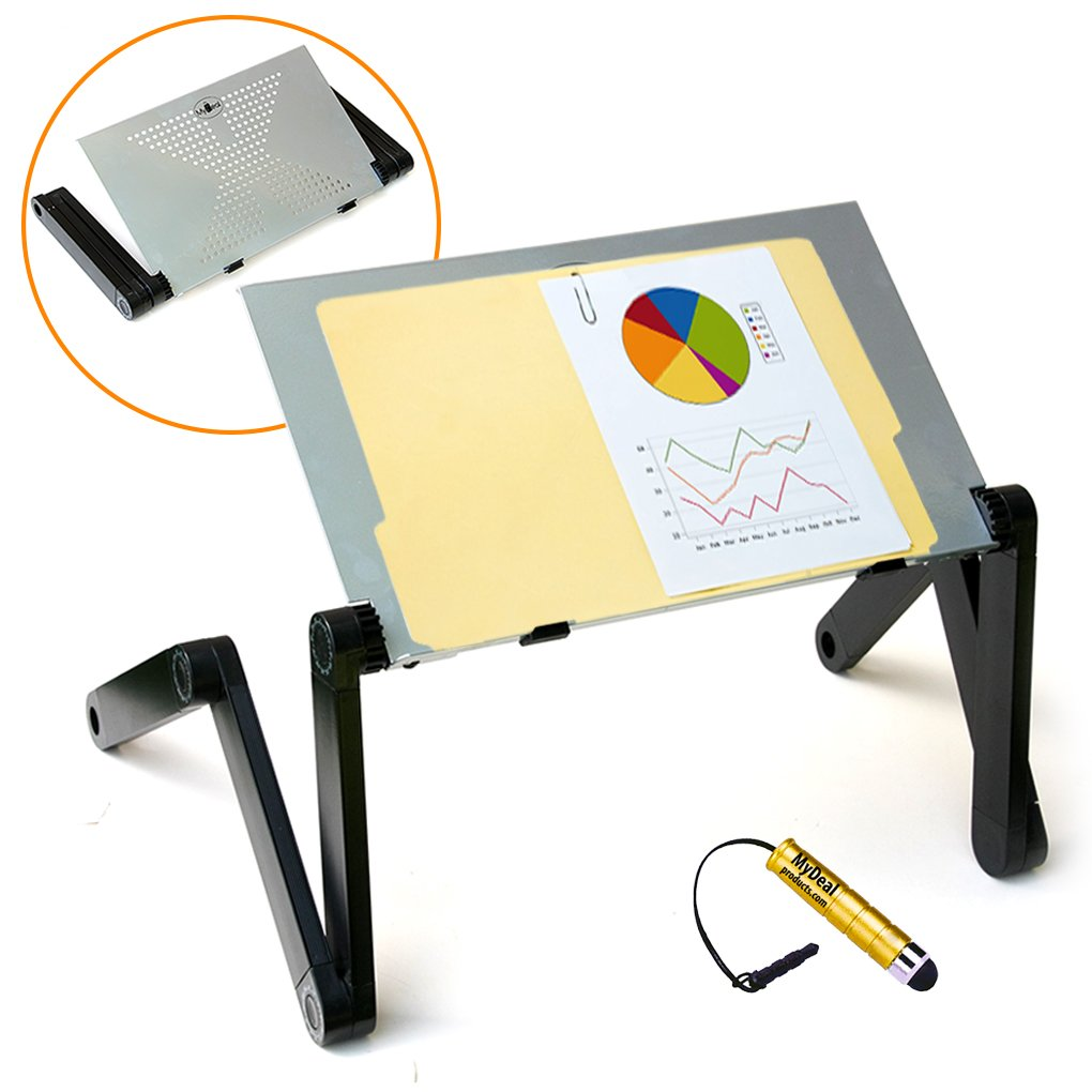 QuickLIFT Podium Portable Lectern Desktop Stand for Office / Conference with Adjustable Height for Reports / Books / PC ! Includes Stylus