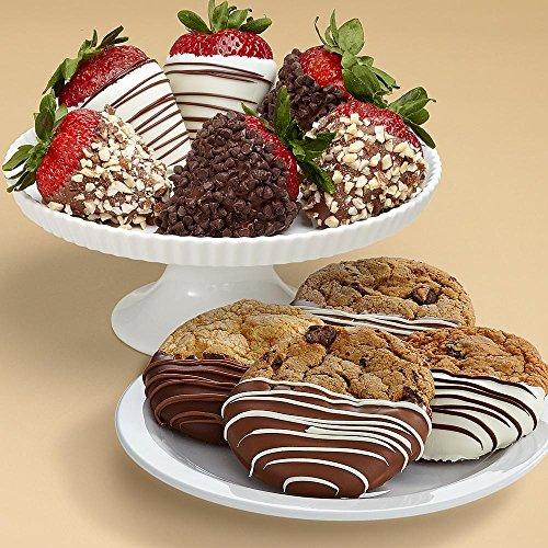 Shari's Berries - 4 Dipped Cookies & Half Dozen Fancy Strawberries - 10 Count - Gourmet Baked Good Gifts