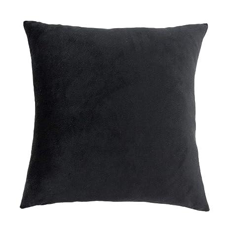Homyl Fundas de Almohada de Terciopelo para Sofá, Cama de Dormitorio - Negro 60 x 60 cm