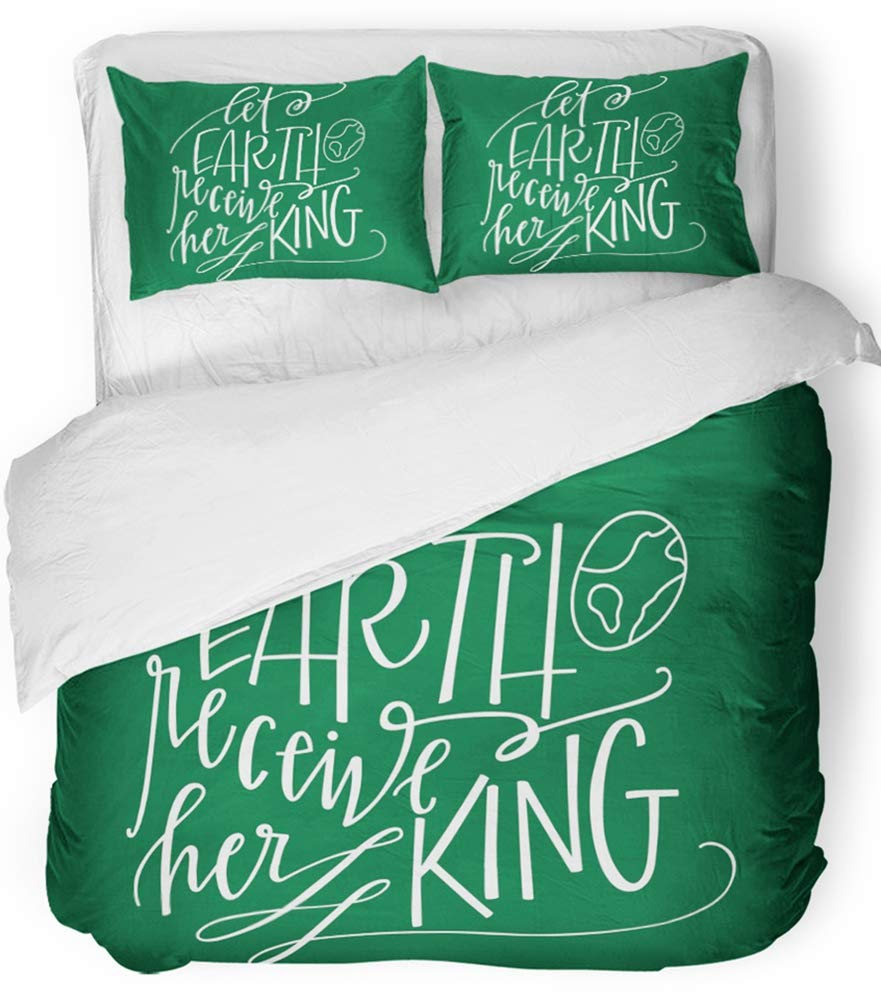 Emvency Bedsure Duvet Cover Set Closure Printed Decorative Christian Let Earth Receive Her King Christmas Quote Calligraphy Carol Jesus Breathable Bedding Set With 2 Pillow Shams Twin Size