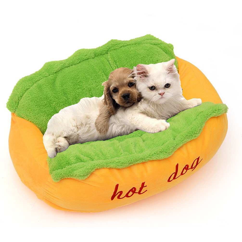 Dog Bed Hot Dog Design Removable and Washable Dog Sofa Dog Mat for Small Animals with Bow Tie and Sunglasses L by Be Good (Image #5)